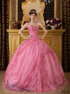 Rose Pink Quinceanera Dresses Sweetheart Floor-length Appliques
