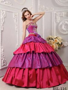 Multi-color Strapless Sweet 15 Dresses with Layers and Appliques