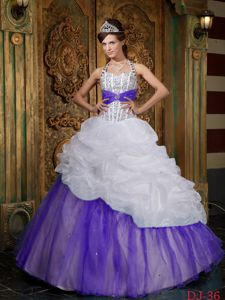 White and Purple Beaded Halter Quinceanera Gowns with Pick-ups