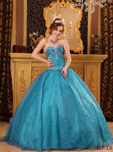 Sweetheart Floor-length Appliques Teal Ball Gown Quinces Dresses