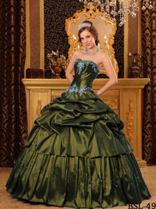 Strapless Floor-length Appliques Olive Green Sweet 16 Dresses