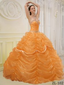 Orange Sweetheart Beading Quinceanera Dress with Pick-ups