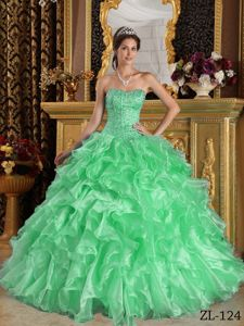 Ball Gown Dresses For 15 Sweetheart Ruffles in Apple Green