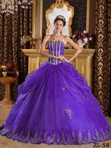Purple Ball Gown Sweetheart Appliques Dresses For a Quince