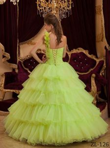 Yellow Green Princess One Shoulder Layered Ruffles Sweet 15 Dresses