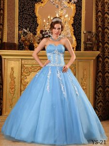 Sweetheart Floor-length Appliques Baby Blue Quinceanera Dress