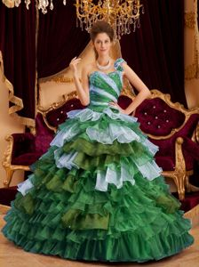 Perfect One Shoulder A-line Ruffles Quinceanera Dress in Multi-color