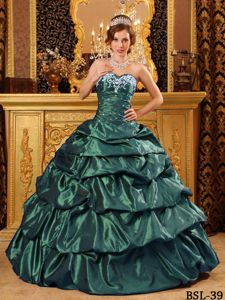 Pretty Green Appliques Sweetheart Quinceanera Dress with Pick-ups
