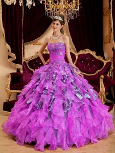 New Leopard and Organza Fuchsia Sweetheart Beaded Dress For Quinceanera