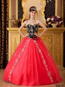 Beading Sweetheart A-line Dresses For Quinceaneras in Red and Black