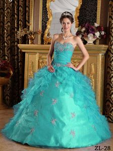 Ruffles Sweetheart Organza Quinceanera Dress with Appliques