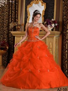 Puffy Beading Orange Floor-length Pick-ups Tulle Dresses Of 15