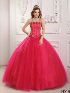 2013 Affordable Beading Strapless Tulle Hot Pink Quinceanera Dress