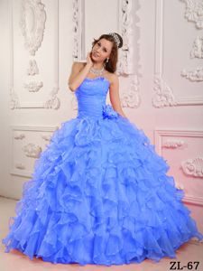 Beading Sweetheart Ruffles and Hand Made Flower Blue Quinces Dresses