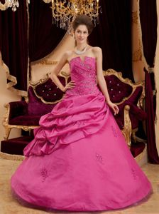 Appliques and Pick-ups Fuchsia Strapless Taffeta Quince Dresses