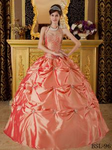 Appliques Halter Watermelon Pick-ups Taffeta Quinceanera Gown