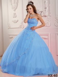 Perfect Sweetheart Tulle Appliques Quincenera Dresses in Baby Blue