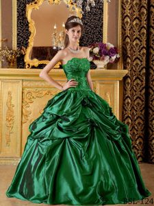 Hunter Green Appliques Strapless Quinceanera Dress with Pick-ups