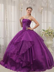 Latest Ruching Purple Beading and Layers Organza Quinceneara Dresses