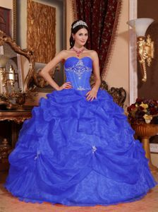 Blue Sweetheart Beading and Appliques Organza Quinceanera Gowns