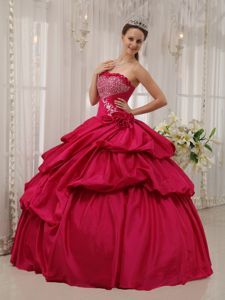 2013 Beading and Hand Made Flower Quinceanera Dress in Coral Red