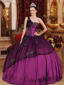 Ruching One Shoulder Purple Quinceaneras Dress with Beading and Appliques