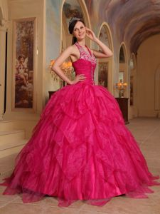 Embroidery Halter Red Floor-length Organza Layers Sweet 15 Dresses