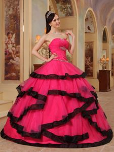 Ruching Floor-length Appliques Sweet Sixteen Dresses in Red and Black