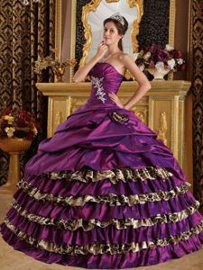 Taffeta and Leopard Quinceanera Dress with Appliques and Hand Made Flowers