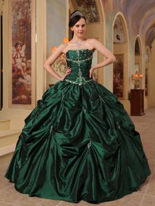 Beading and Ruche Hunter Green Strapless Taffeta Dresses For a Quince