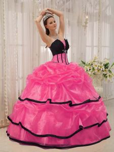 Clearance Beading and Layers Quinceanera Dress in Hot Pink and Black