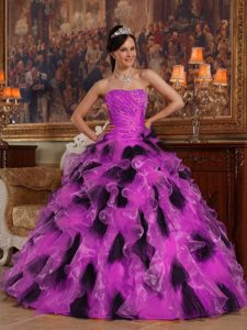 Make me a supermodel Fuchsia and Black Ruffles Quinceanera Dress with Ruche and Beading