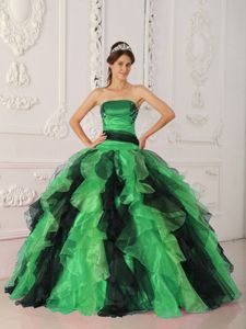 New Style Appliques and Ruffles Multi-color Strapless Dresses Of 15