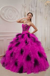 American Idol Beading and Ruche Sweetheart Quinceanera Dress in Hot Pink and Black