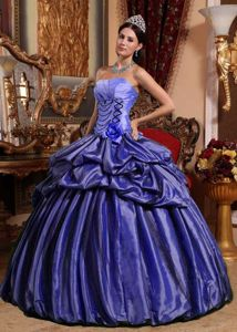 Purple Taffeta Quinceanera Dress with Hand Made Flower and Pick-ups