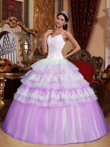 Beauty and geeks Spaghetti Straps Lace Appliques Quinceanera Dress in Lavender and White