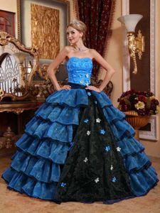 Hand Made Flowers Multi-color Strapless Organza Layers Quinceanera Dress