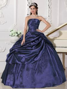 Beading and Ruche Purple Taffeta Quinceanera Dress with Pick-ups