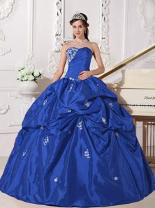 Ruche and Appliques Blue Sweetheart Floor-length Taffeta Quinceanera Dress