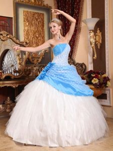 Hand Made Flowers and Beading Strapless Blue and White Quinceanera Dress