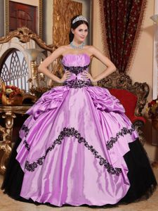 Ruching Strapless Appliques Quinceanera Dress in Lavender and Black