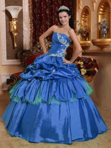 Blue Appliques and Ruche Taffeta Quinceanera Dress with Pick-ups