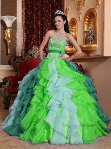 Beading and Appliques Sweetheart Multi-color Ruffles Quinceanera Dress