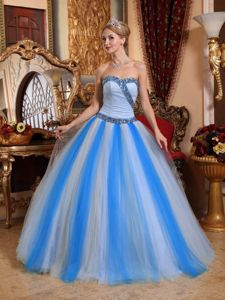 Beaded Sweetheart and Waistline Tulle Quinceanera Dress in Multi-color