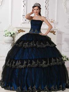 Appliques and Ruche Blue Floor-length Taffeta and Tulle Quinceanera Dress