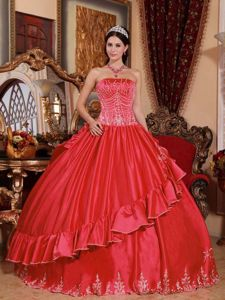 Coral Red Embroidery Strapless Quinceanera Dress in Satin and Taffeta