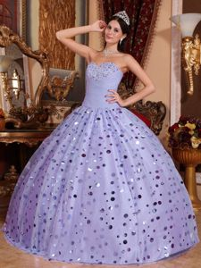 Beading and Ruche Sweetheart Tulle and Sequins Quinceanera Dress in Lilac