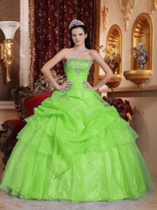 Yellow Green Strapless Quinceanera Dress with Beading and Pick-ups