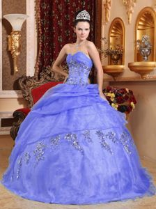 Ruche and Beading Sweetheart Organza Sweet 15 Dresses with Appliques