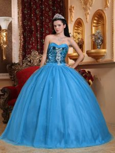 Sweetheart Tulle and Sequins Quinceanera Gowns with Beading and Appliques